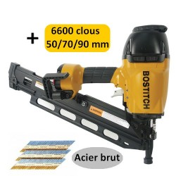 BOSTITCH F33PT-E CLOUEUR PNEUMATIQUE + 6600 clous 50/70/90mm crantés acier brut 34°