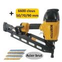 BOSTITCH F33PT-E CLOUEUR PNEUMATIQUE + 6600 clous 50/70/90mm crantés acier brut 34°