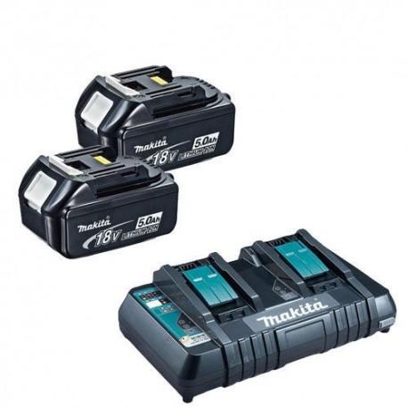 Makita DC18RD + 2 x BL1850B 5Ah chargeur et batteries compatibles 18v ou 36v Li-ion LXT