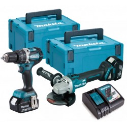 MAKITA DLX2210TJ1 perceuse + meuleuse (2 x 5Ah) brushless 18v Li-ion