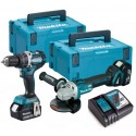 MAKITA DLX2210TJ1 perceuse + meuleuse (2 x 5Ah) brushless 18v Li-ion DGA506/DHP484